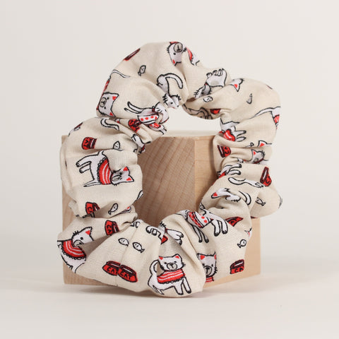 Cat - Scrunchies - Red Bowl