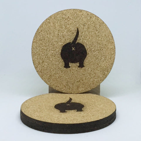 Dog - Cork Coasters - Dog Butts