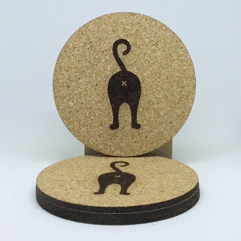 Cat Butt Cork Coasters