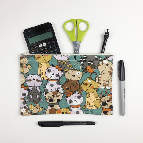 Cat - Pencil Cases - Teal Cats and Birds