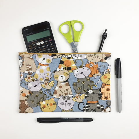 Cat - Pencil Cases - Blue Cats and Birds