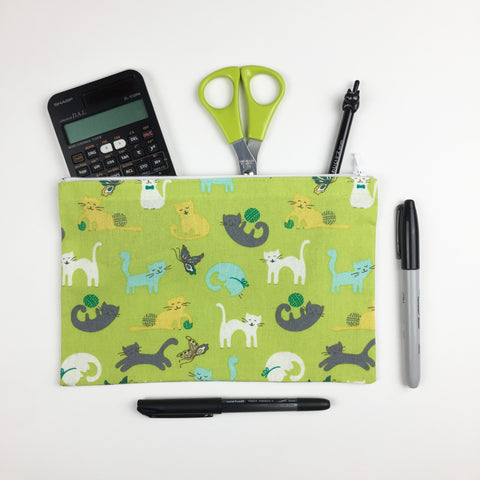 Cat - Pencil Cases - Lime Cats Playing