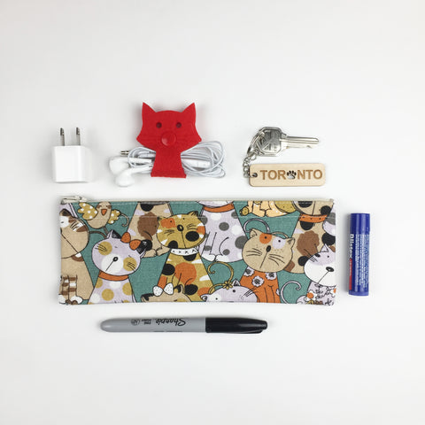 Cat - Pencil Cases - Teal Cats and Birds (Small)