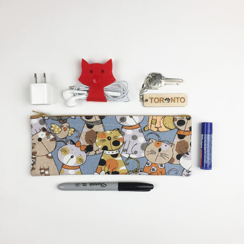 Cat - Pencil Cases - Blue Cats and Birds (Small)
