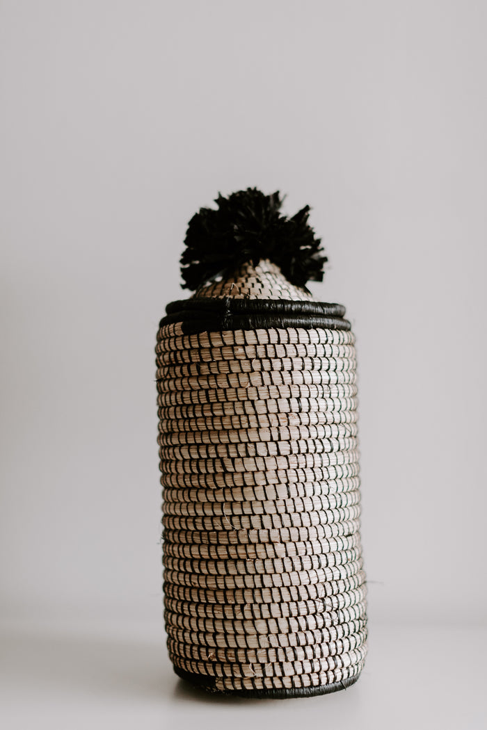 Tall Lidded Pom Pom Basket