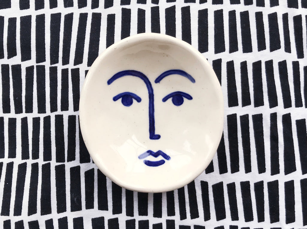 Ceramic Face Dish nº7 / Incense Holder / Ring Dish