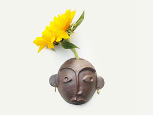 Ceramic Wall Hanging Face Vase / Planter