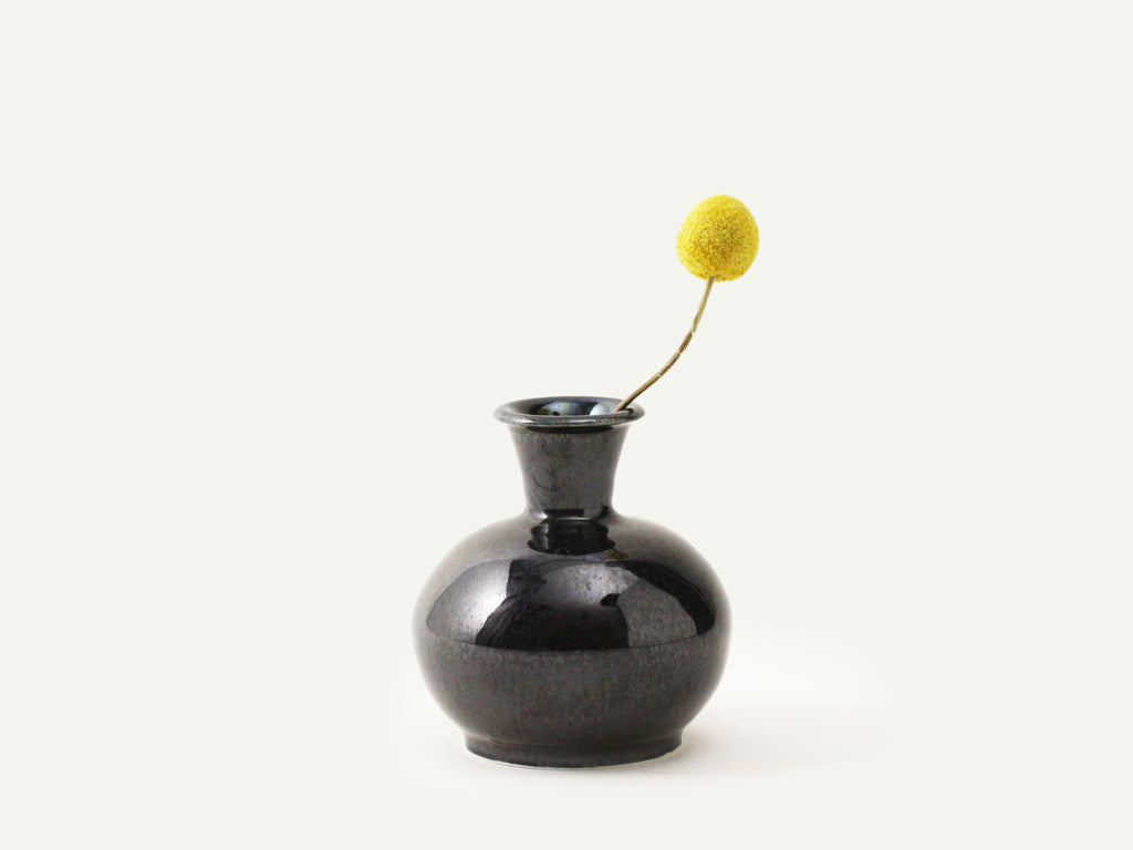 Metallic Black Bud Vase