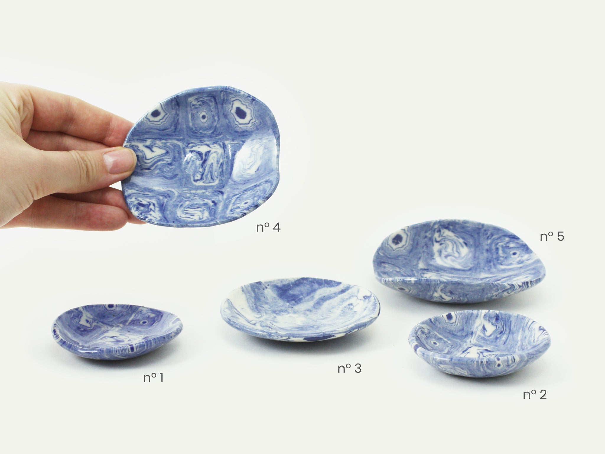 Indigo Blue Nerikomi Dish / Incense Holder