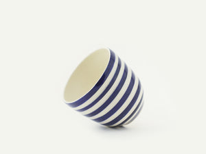 "Navy Blue and White ""Breton"" Stripes Ceramic Cup"