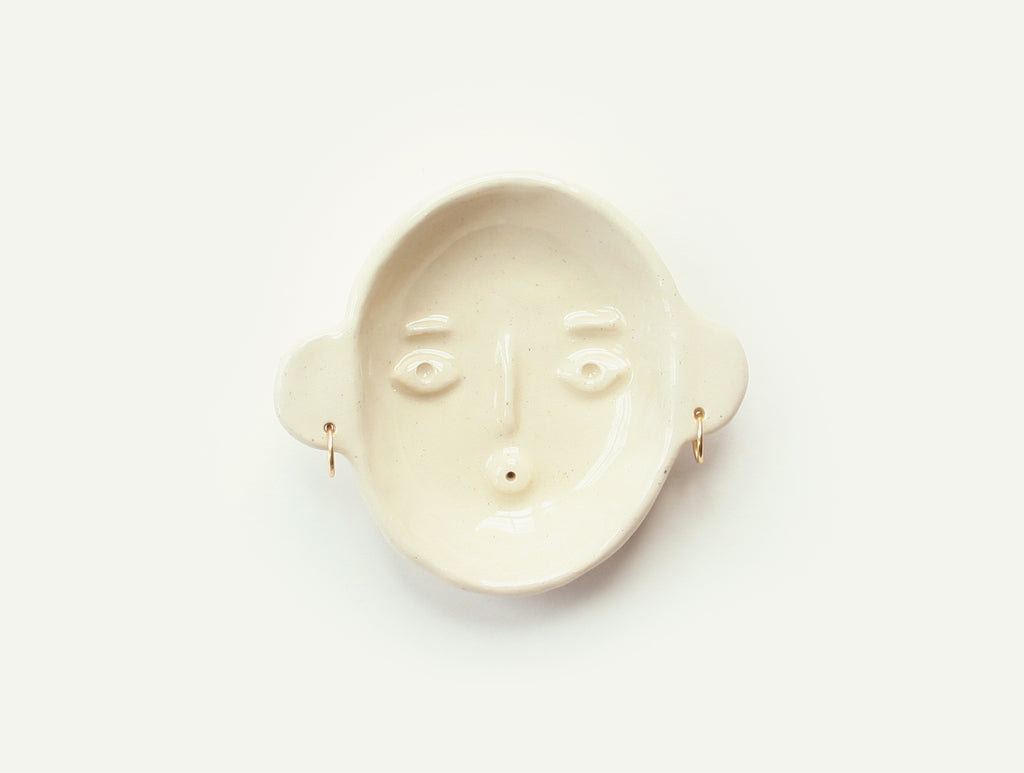 Ceramic Face Dish nº3 / Incense Holder / Ring Dish