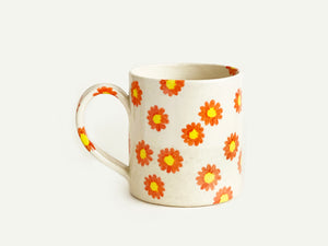 "Pre-Order: ""Daisy"" Flower Pattern Mug - Orange"