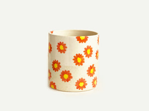 Pre-Order: Daisy Flower Pattern Cup / Tumbler - Orange