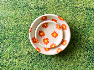 "Pre-Order: Trinket Ring Dish - ""Daisy"" Flower Pattern - Orange"