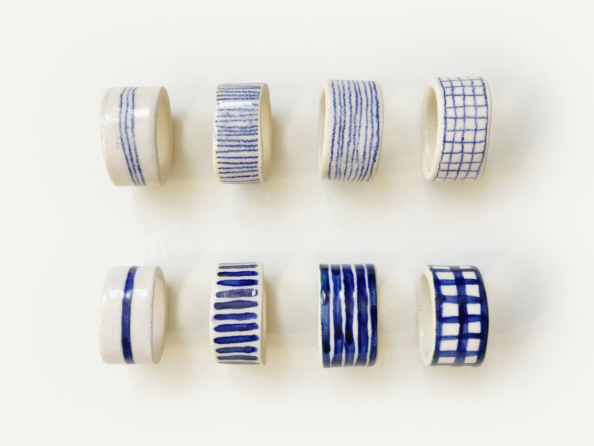 Set of 8 Ceramic Napkin Rings