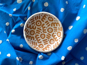 "Pre-Order: Large ""Doodle"" Trinket Ring Dish - Small Pattern - White"