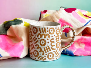 "Pre-Order: ""Doodle"" Mug - Small Pattern - White"