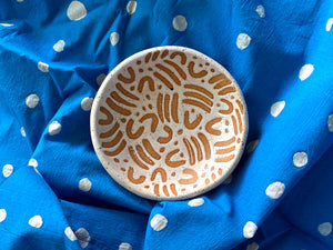 "Pre-Order: Large ""Jot"" Trinket Ring Dish - Small Pattern - White"
