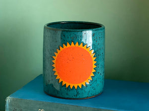 "Pre-Order: ""Soleil"" Sun Cup / Tumbler - Orange and Turquoise"