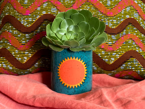 "Pre-Order: ""Soleil"" Sun Planter / Pot - Orange and Turquoise"