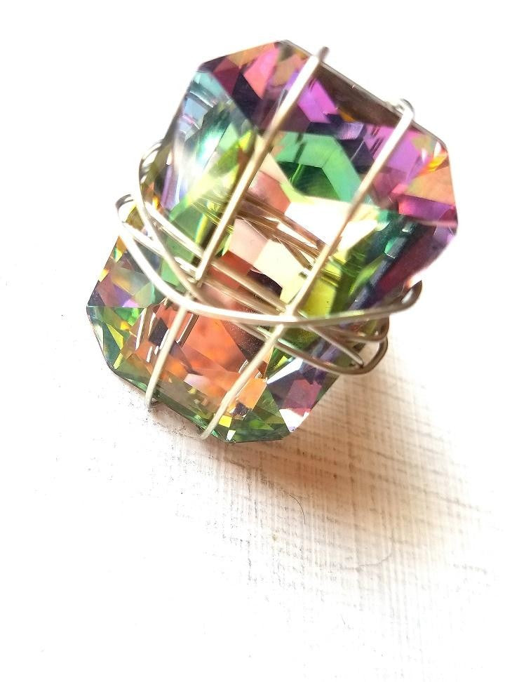 NATALIE-Multi Colored Silver/Purple/Green Statement Ring