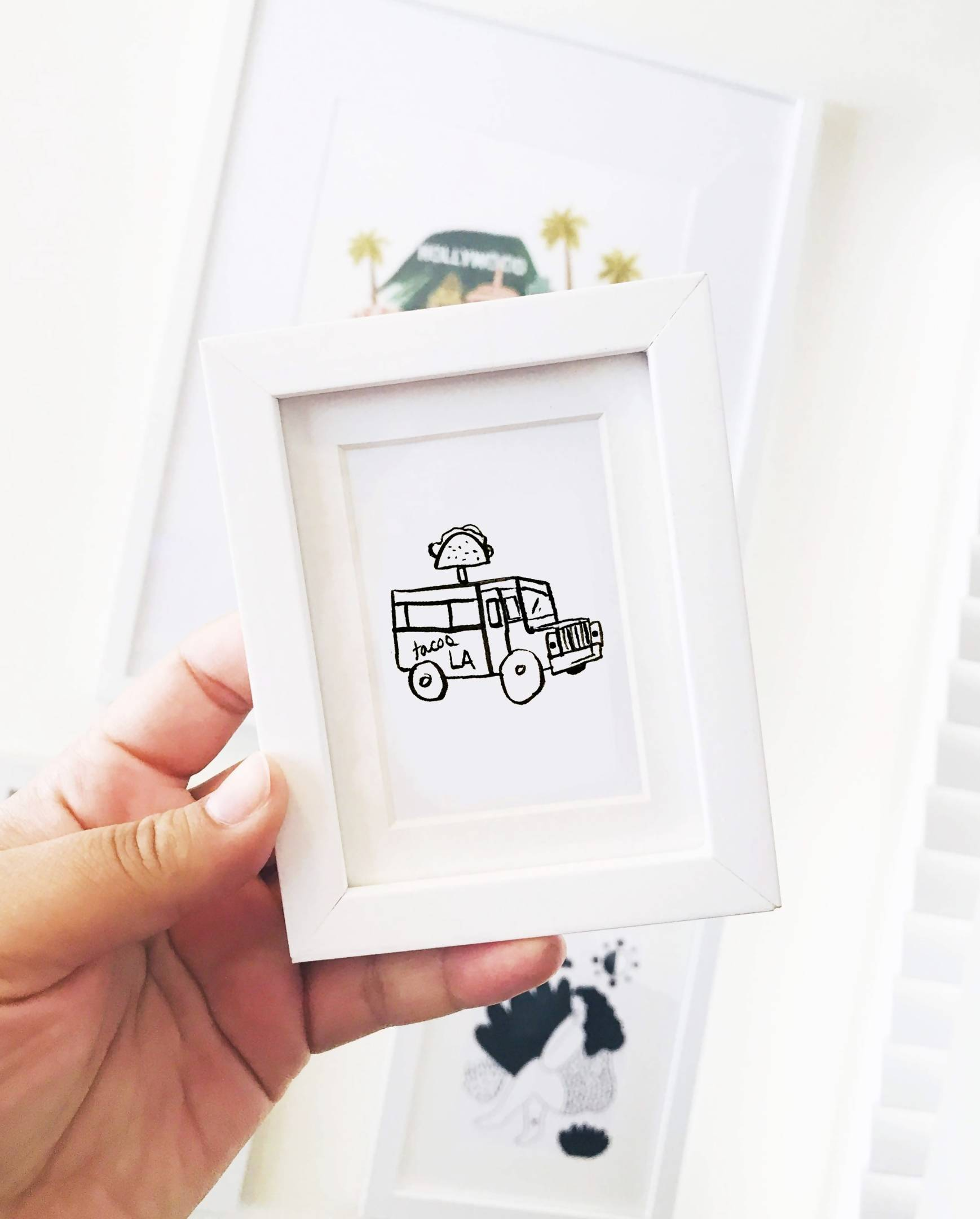 2 X 3 MINI ART PRINT FRAMED -ICE CREAM TRUCK