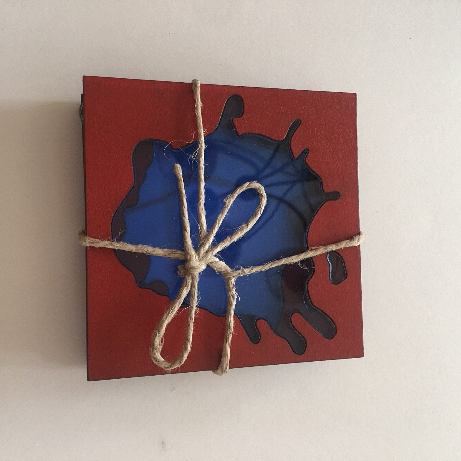 set of 3 red wood and blue acrylic coasters