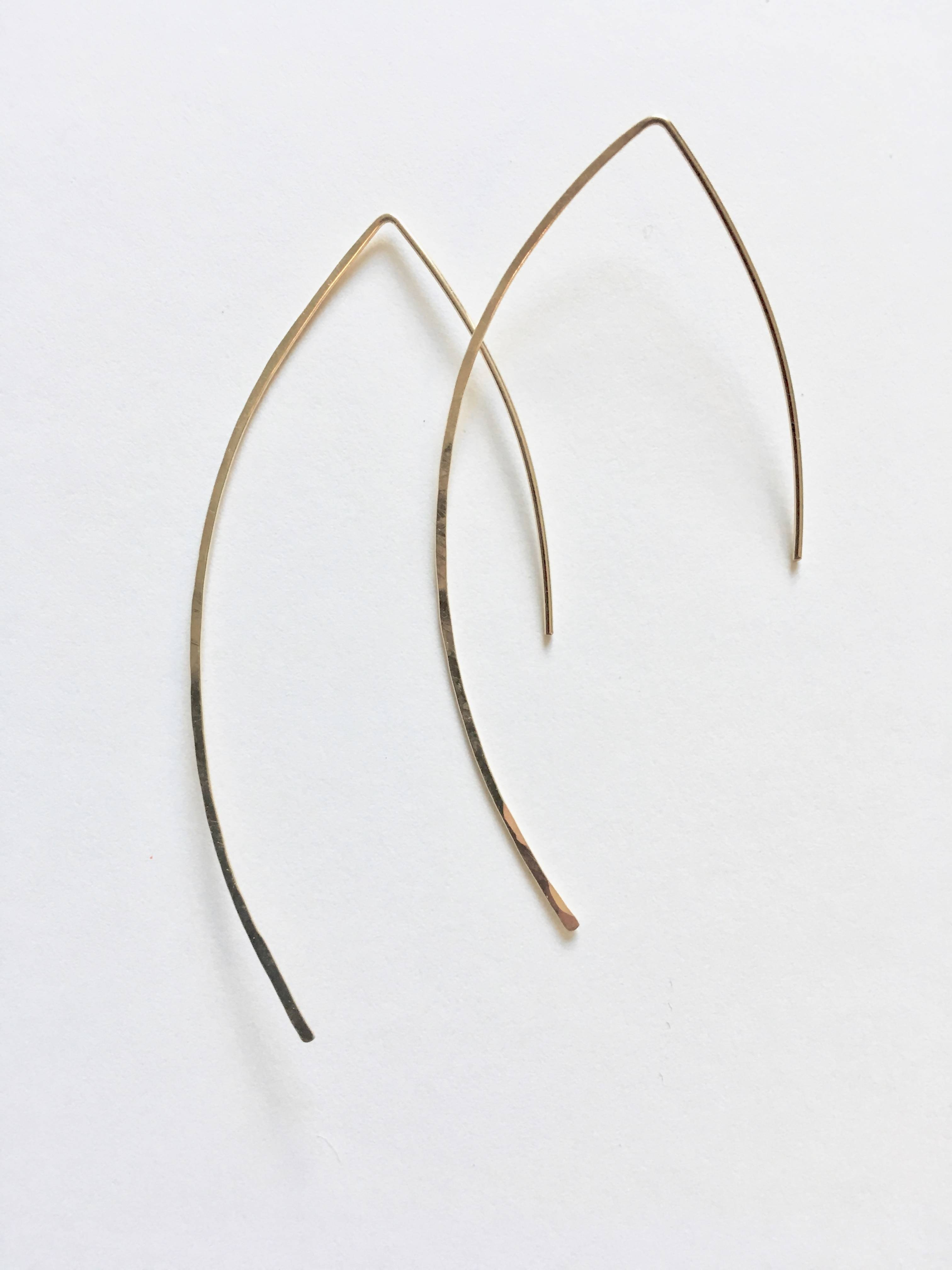 Hand Hammered Thin Wire Threader Earrings