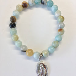 Gemstone Bracelet with Sterling Silver Mary Charm