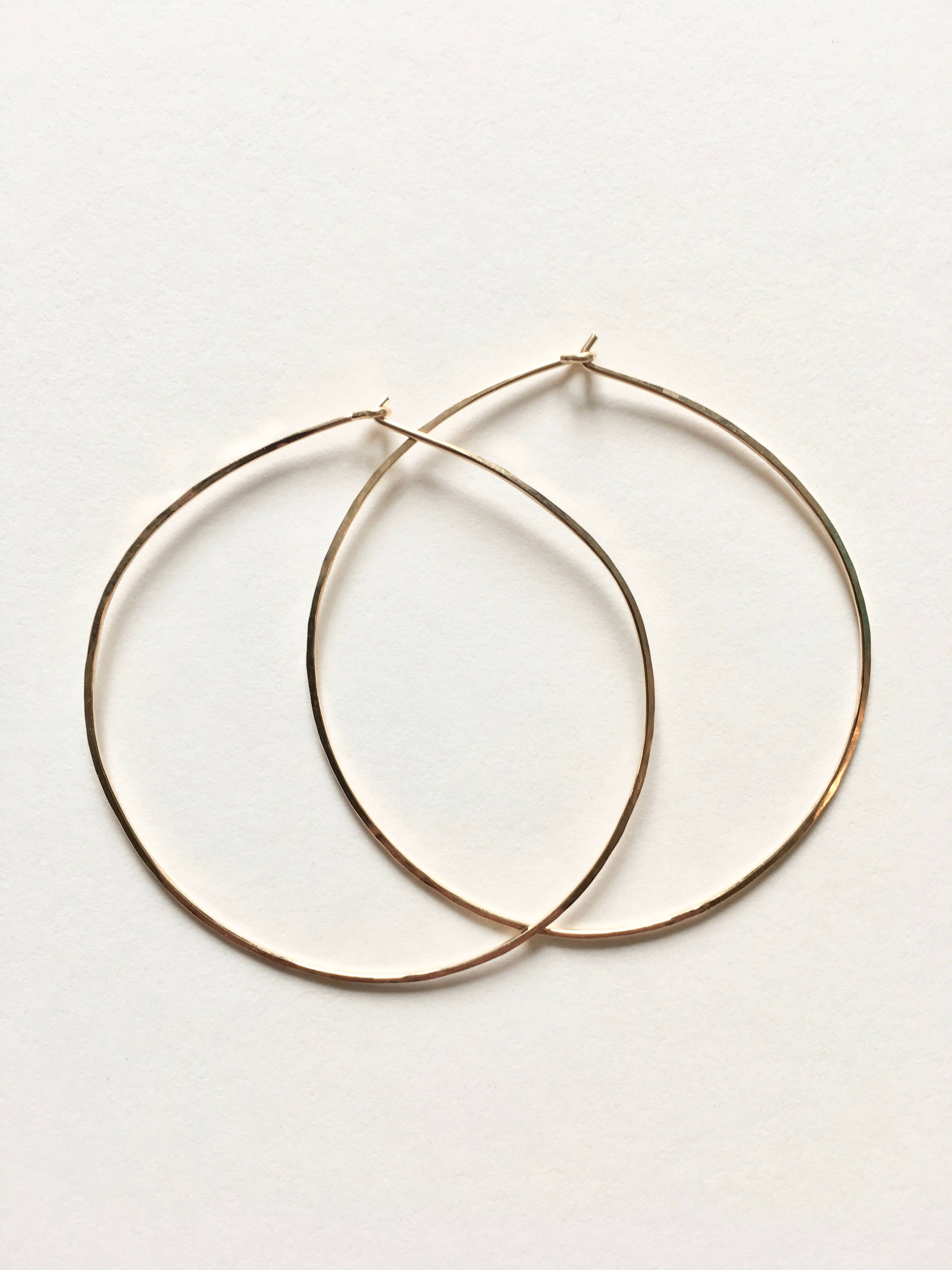 Hand Hammered Thin Wire Hoop Earrings - Large