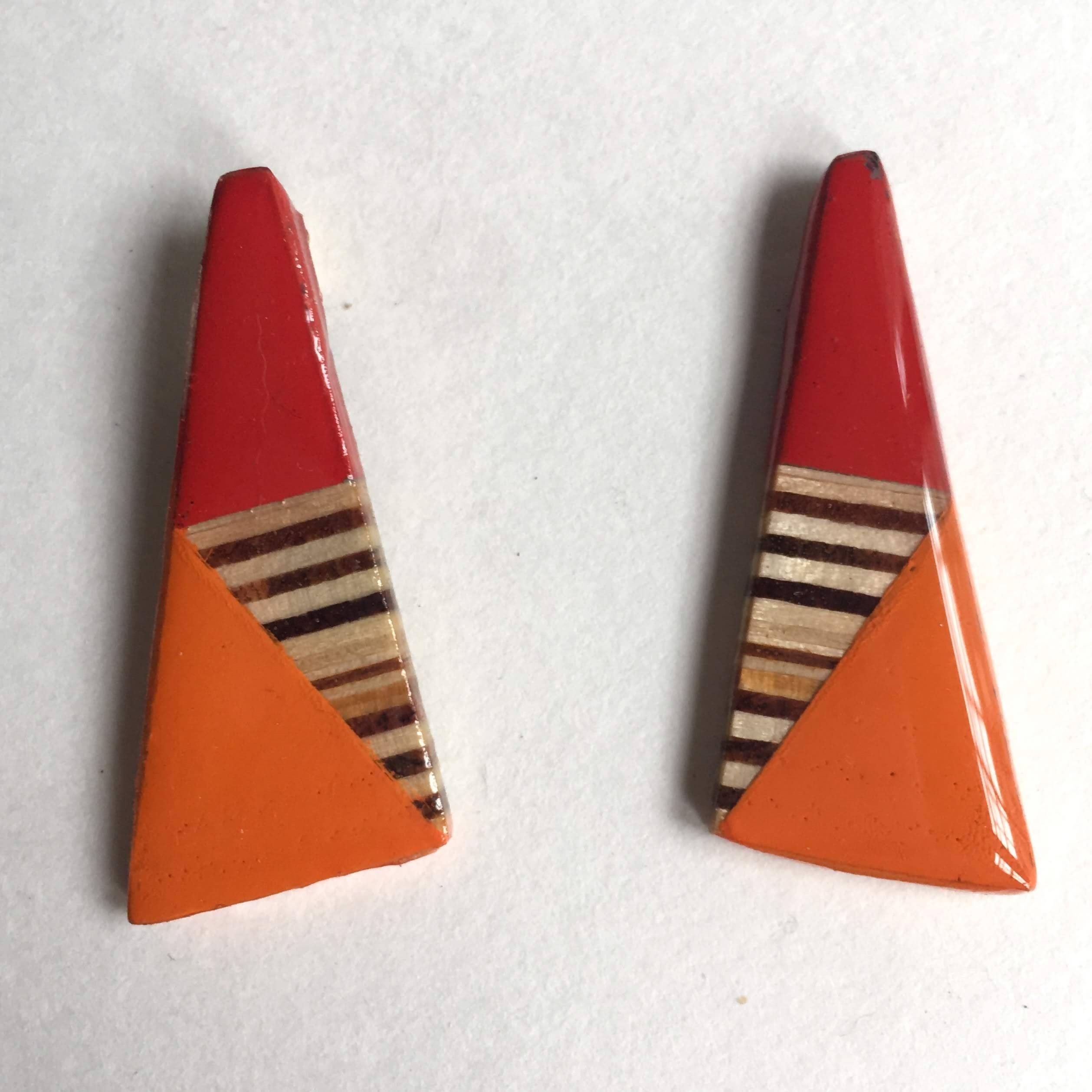 red and orange and plywood post earrings.