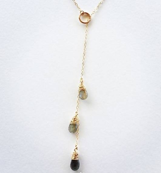 3 Teardrop Lariat Necklace