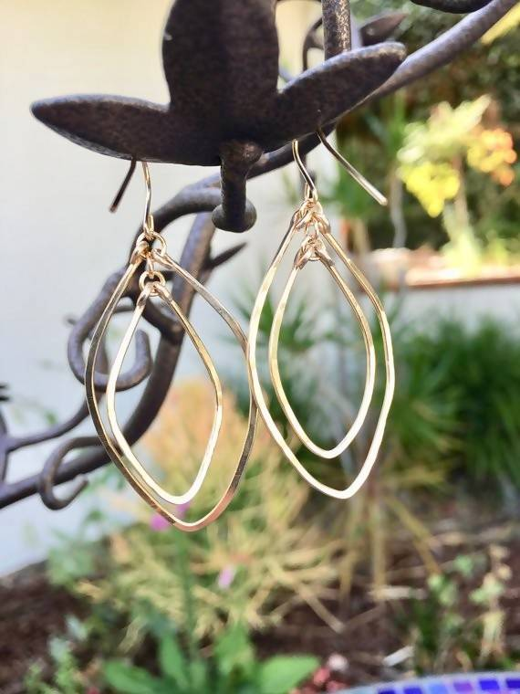 Hand Hammered Double Marquis Earrings - Small