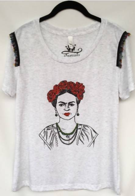 Frida Red Roses Hand Painted T-shirt