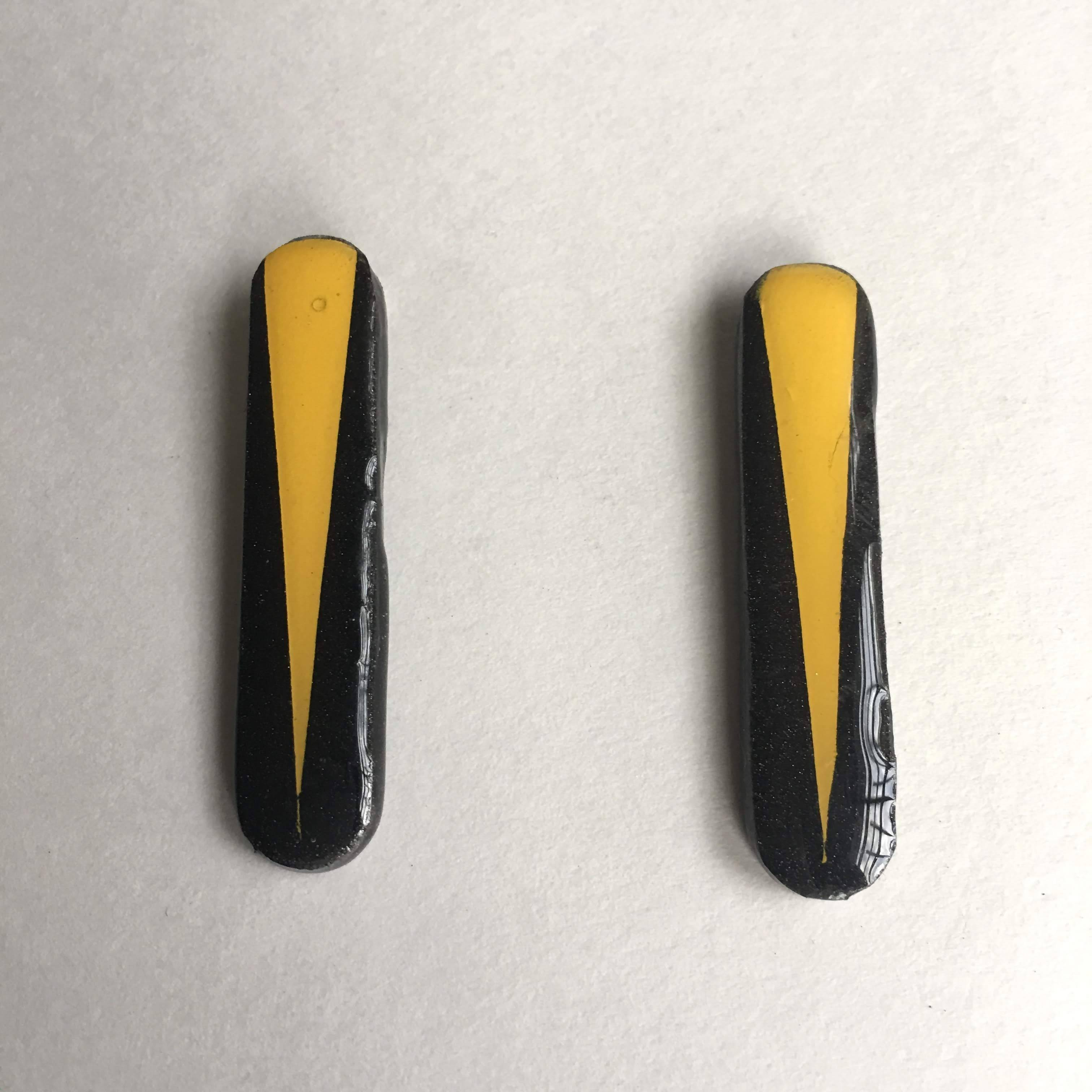 long rounded rectnagle black and yellow post earrings
