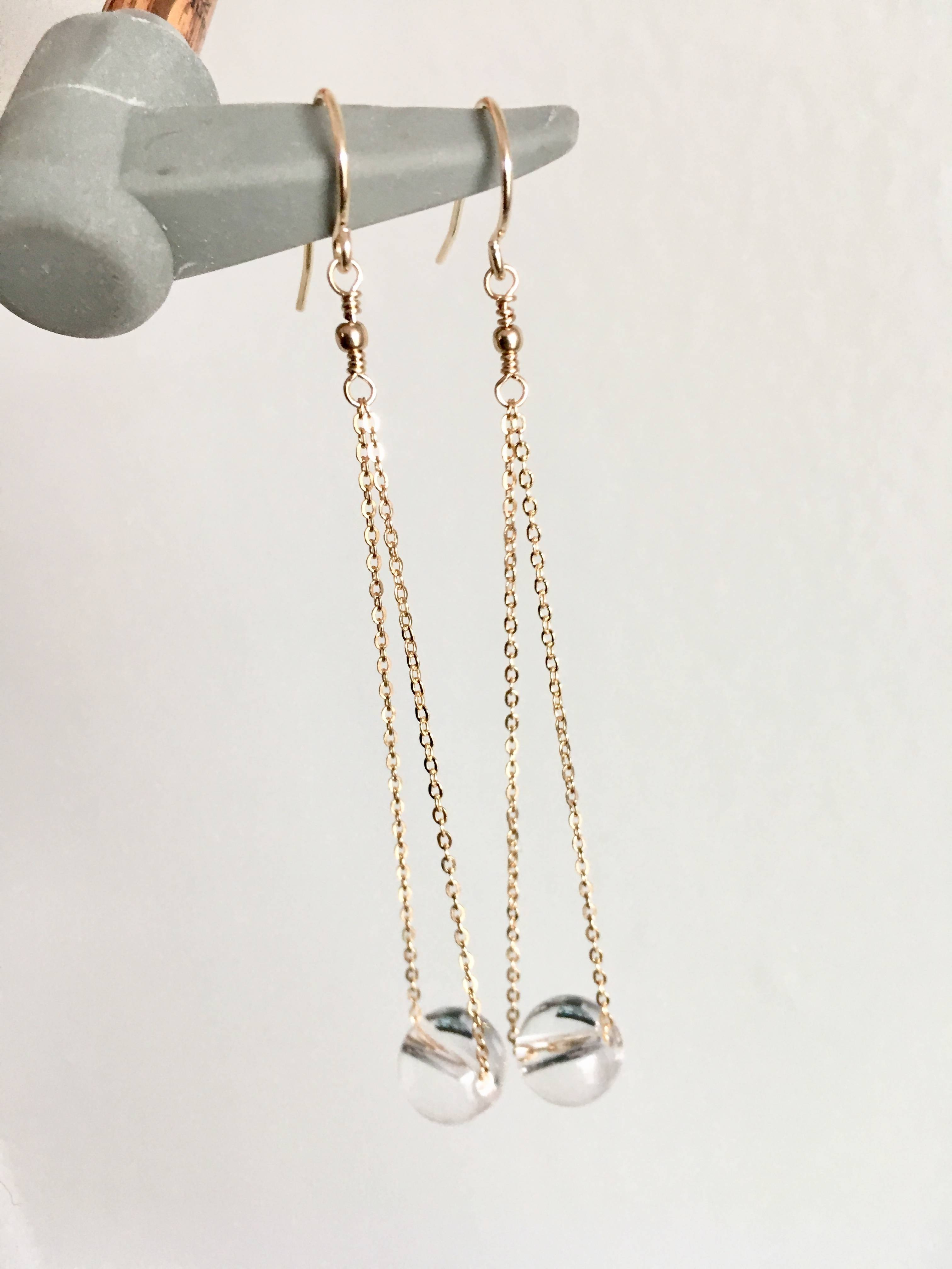 Long Crystal Ball Drop Earrings