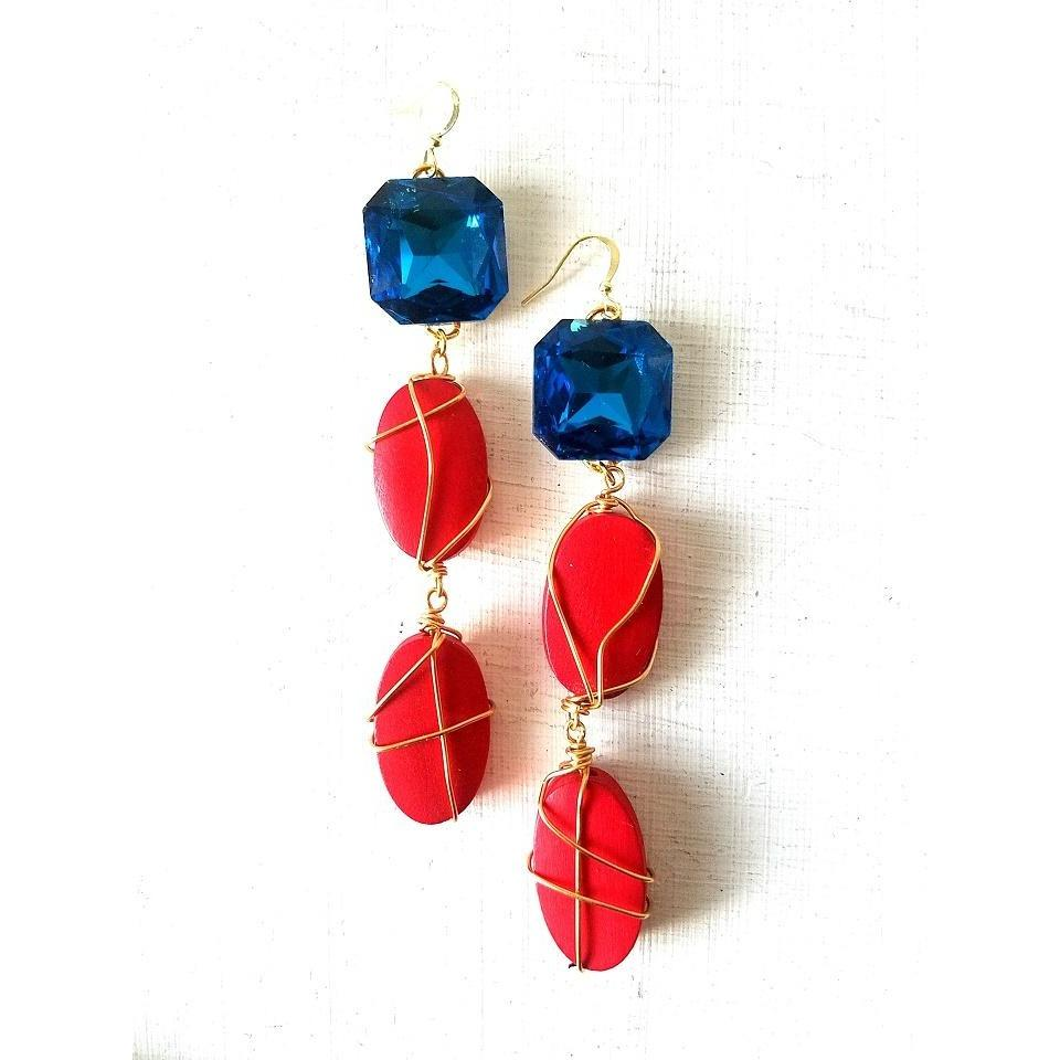 ALEXANDRIA-Wire Wrapped Red Wood Earrings with Blue Stone