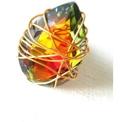 BIANCA- Teardrop Multi Colored WIre Wrapped Cocktail Ring