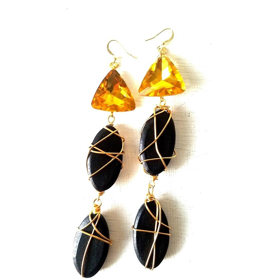 ERIN- Black Wooden Wire Wrapped Dangle Earrings with Yellow Stones