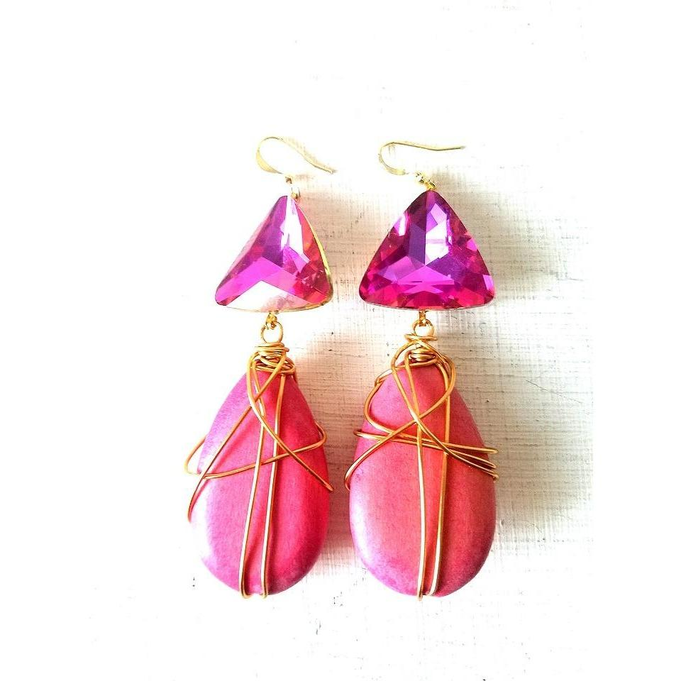 POSEY- Wire Wrapped Pink Wood Teardrp Earrings with Pink Stone