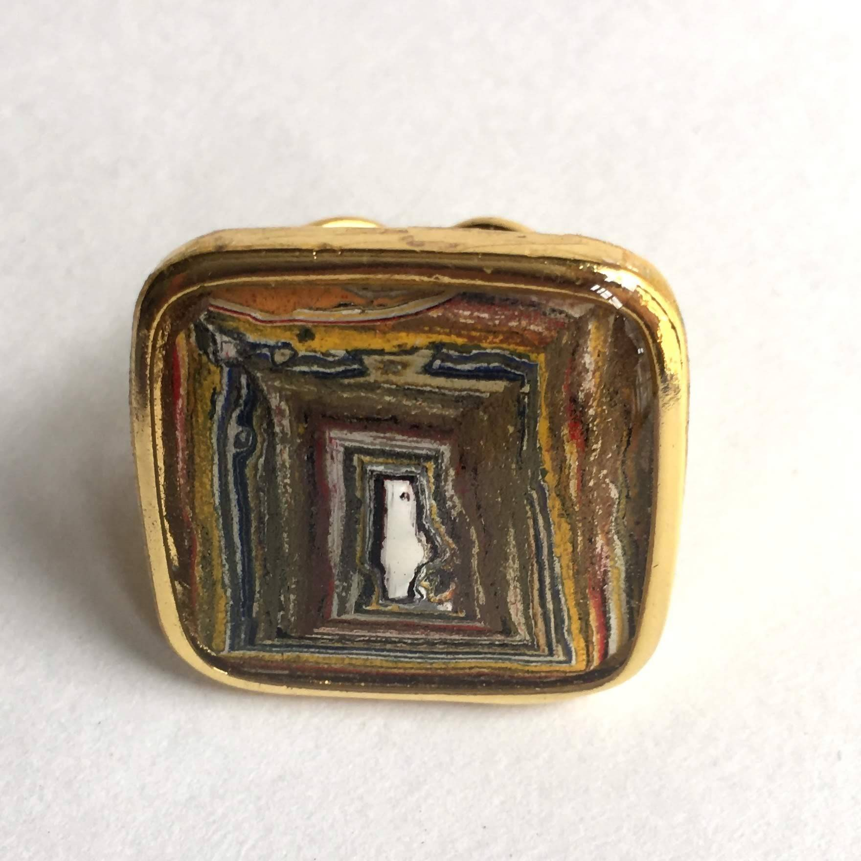 gold square paint ring