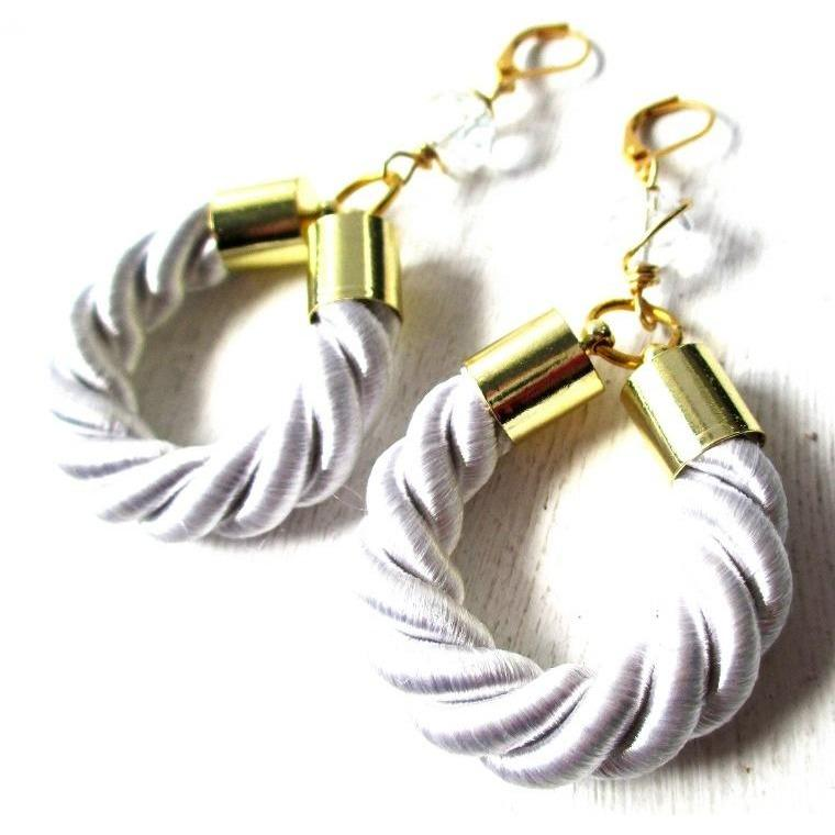 CHARLIE-White Twisted Rope Earrings
