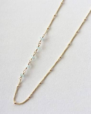 Asymmetric Wire Wrapped Aquamarine Necklace