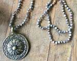 Brass Circle Flower Pendant Beaded Crystal and Gemstone Necklace