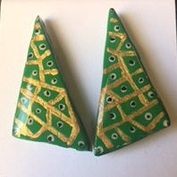kelly green and gold with black and white dots