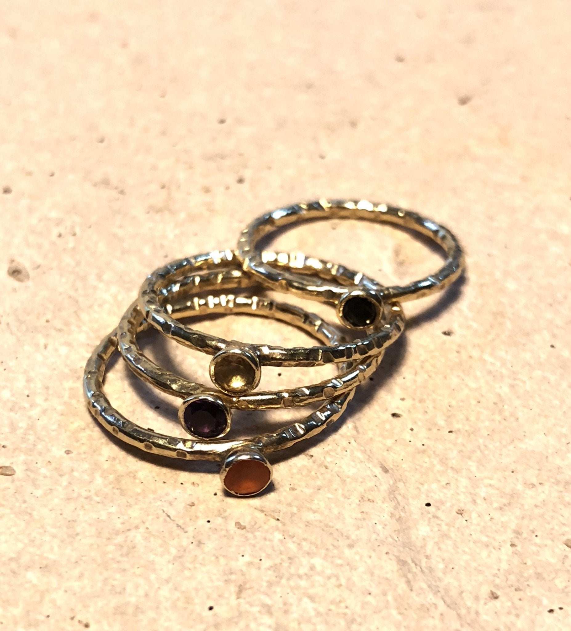 Single stone dainty ringsterling silver