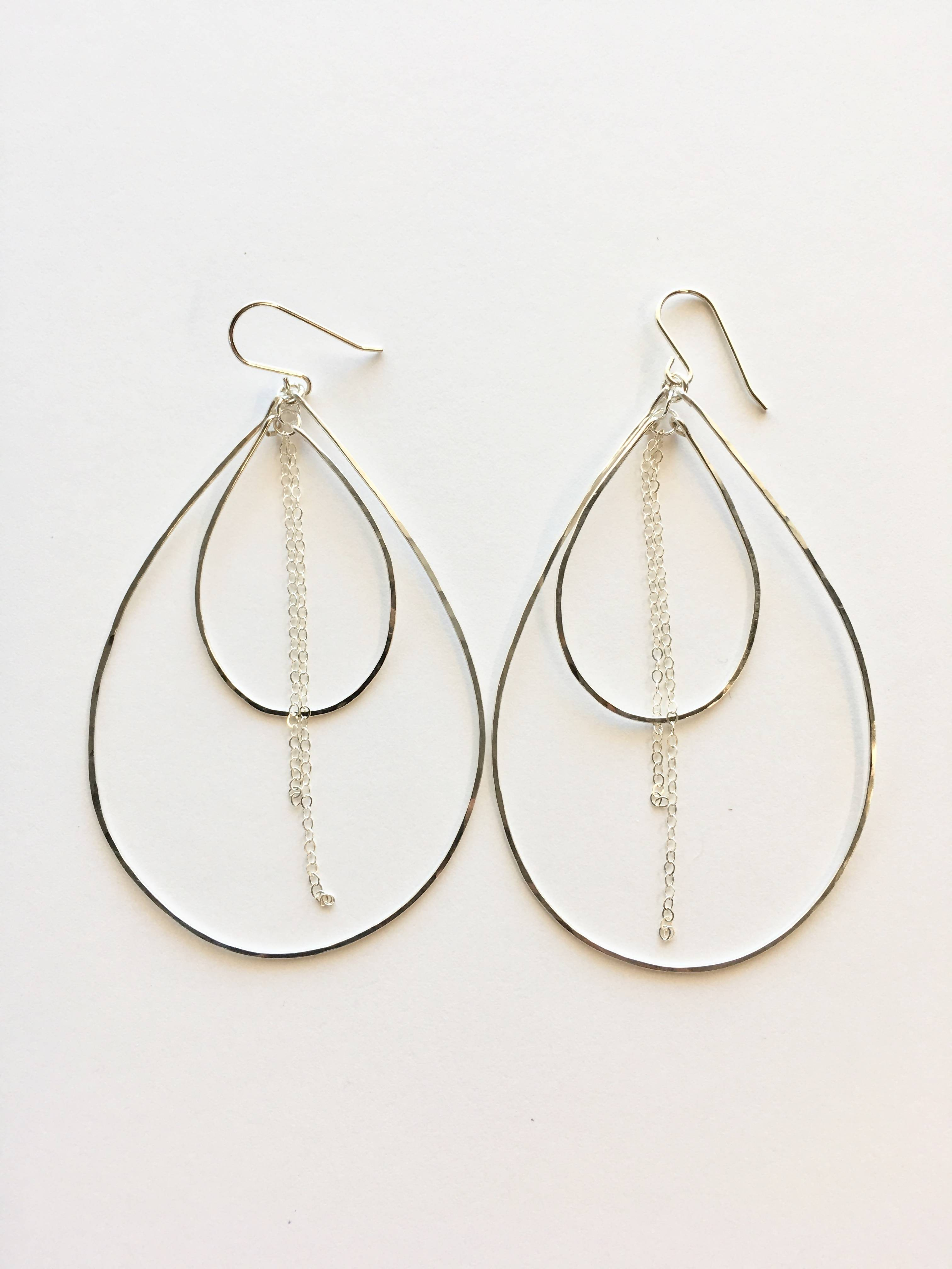 Hand Hammered Double Thin Wire Teardrop Earrings with Chain