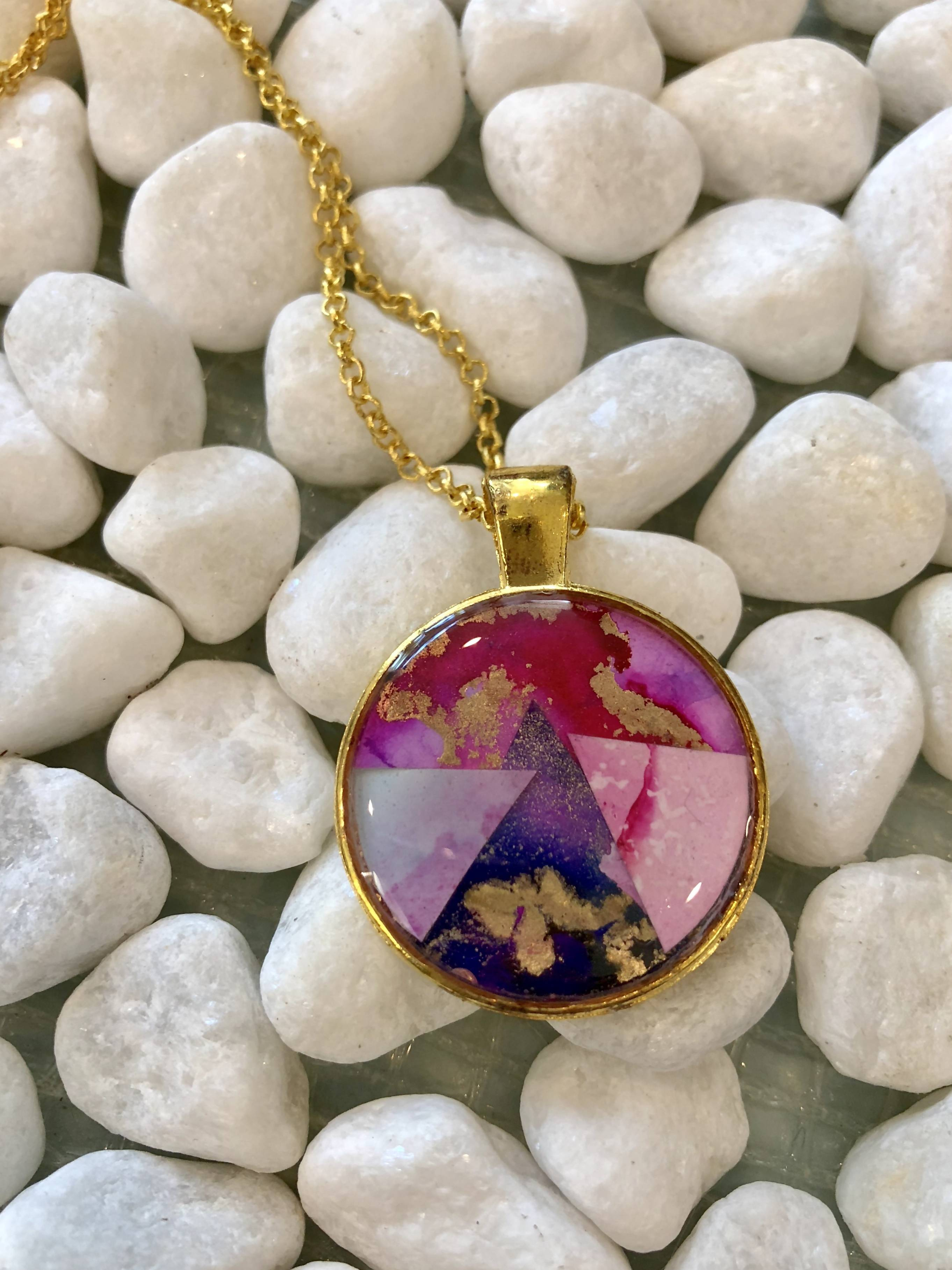 Pink and purple triangle pendant