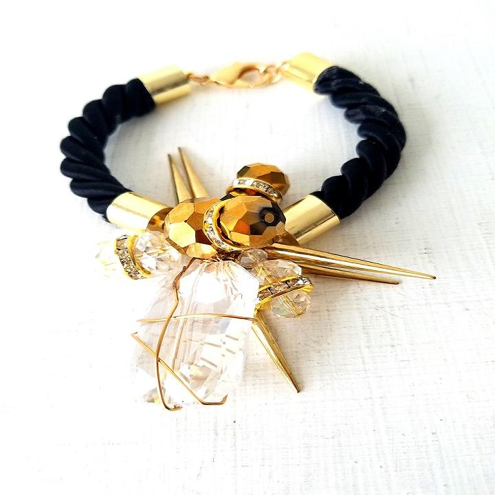 KEEMA-Black Corded Bracelet With Glass Beads