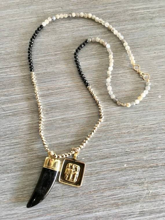 Black Agate Horn Claw and Deity Gold Pendant Gemstone Necklace
